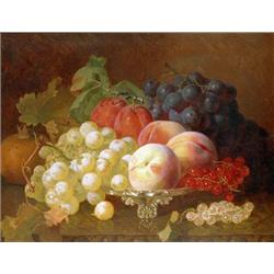 Grapes and Fruit on Silver Plate