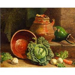 A still life of cabbages, carrot & turnips