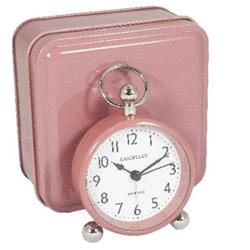 Pretty Bedside Alarm Clock with Pink Case in Tin