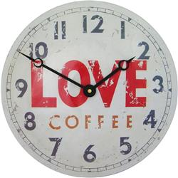 Convex Tin Clock, Love Coffee Design - 28cm