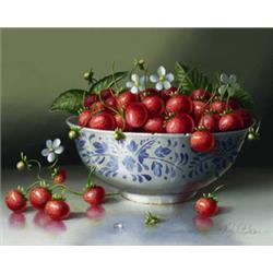 Strawberries in Blue and White Bowl