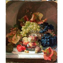 Still life of fruit with silver bowl