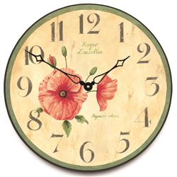 Red Poppy Wall Clock - 36cm