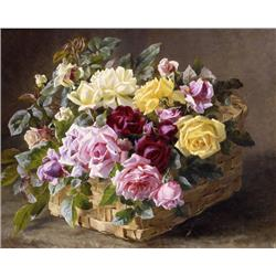 Roses in a Garden Basket