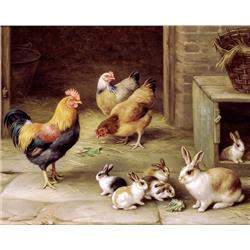 Poultry and Rabbits by a Hutch