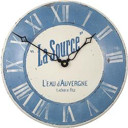 Convex Enamel French Wall Clock, La Source - 28cm Kitchen Clock