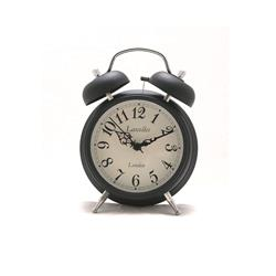 Alarm Clock - Traditional Small Bell Alarm Clock in Black - 12.7 x 4.3cm