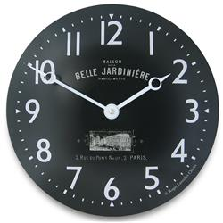 Convex Enamel Clock, Belle Jardinière - 28cm Retro French Wall Clock