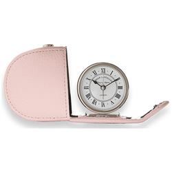 Fold Away Alarm, Genuine Leather Pink Case with Gift Box