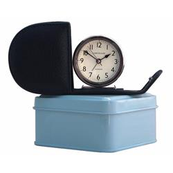 Fold away navy blue alarm clock with gift tin