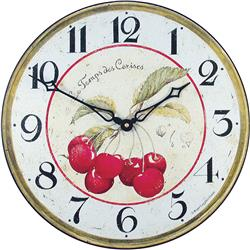 Red Cherries French Wall Clock - 36cm