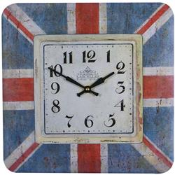 Square Tin Wall Clock, Union Jack Design - 31cm