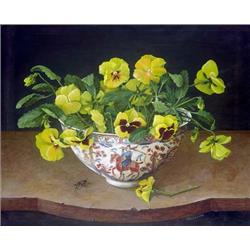 Yellow Pansies in China Vase