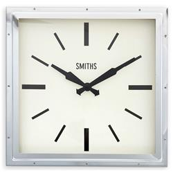 Chrome Smiths Deco Square Clock - 41cm