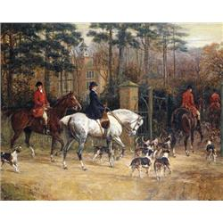 Hunting Scene Outside Manor