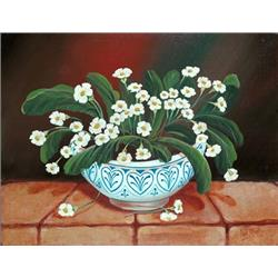 Primroses in a Blue and White Bowl