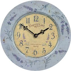 French Tin Wall Clock, Lavender Theme - 34.5cm