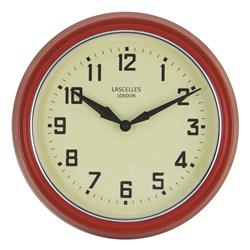 A Retro Clock in Red with Silver Bezel - 30cm