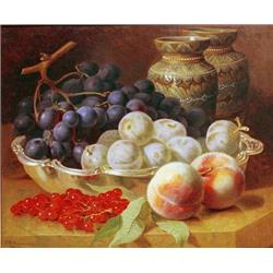 Grapes and Fruit in Silver Bowl