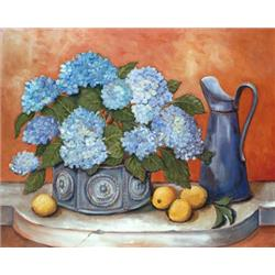 Hydrangeas with lemons and metal jug