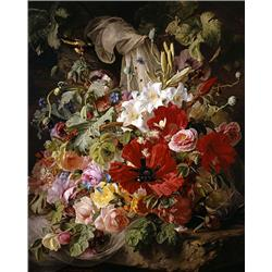 Still life of Lilies, Poppies and Roses