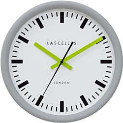 Grey Swiss Station Clock with Baton Lime Hands  - 30cm