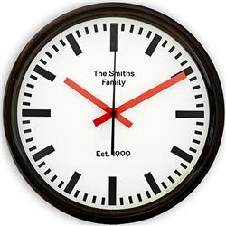 Swiss Station Clock In Black Sweep Second Hand 30 Cm Retro Clocks