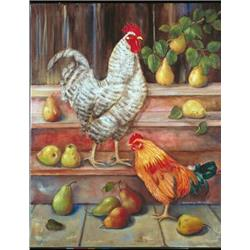 Cockerel on stairs with pears