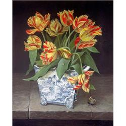 Orange Tulips in China Vase
