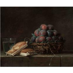 Still Life of Plums and Bread