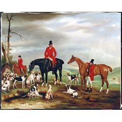 Huntsmen with Horses & Hounds