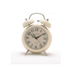 Alarm Clock - Traditional Small Bell Alarm Clock in Cream - 12.7 x 4.3cm