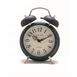 Alarm Clock - Traditional Bell Alarm in Black - 17.5 x 5.4cm
