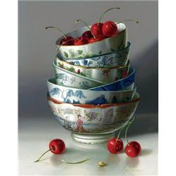 Stacked bowls with Cherries