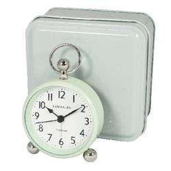 Pretty Bedside Alarm Clock with Turquoise Case in Tin