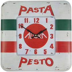 Square Tin Wall Clock, Pasta Pesto Design - 31cm