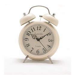 Alarm Clock - Traditional Bell Alarm in Cream - 17.5 x 5.4cm