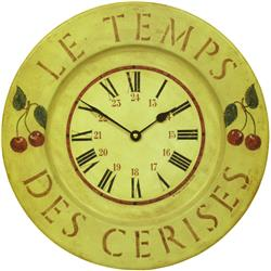French Tin Cherries Wall Clock