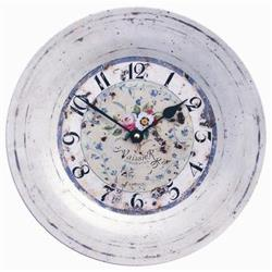 Tin Plate Wall Clock, Antique Rose - 26cm