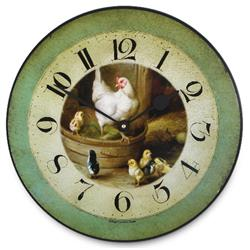 Hen and Chicks, Wall Clock - 36cm
