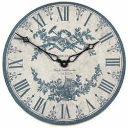 French Blue Toile Wall Clock - 36cm