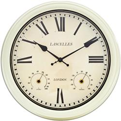 Metal outdoor clock showing temperature and humidity in cream - 36cm