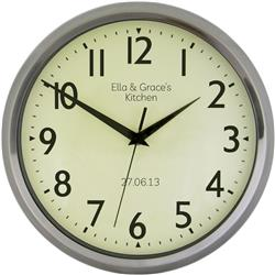 Personalised -  Retro Chrome Wall Clock - 30cm