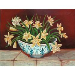 Daffodils in Blue and white bowl