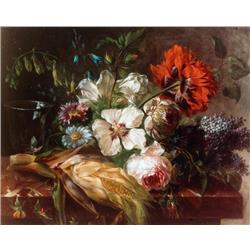 Still life of corn and flowers