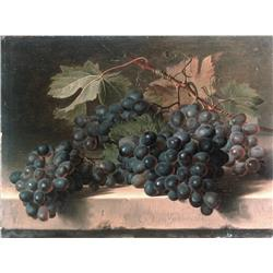 Still life of grapes on ledge