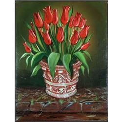 Red Tulips in Terracotta Pot