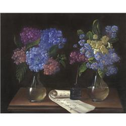 Hydrangeas and Peonies in Vases