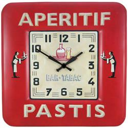 Square Tin Wall Clock, Bistro Design - 31cm