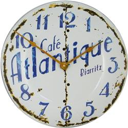 Enamel French Cafe Atlantique Wall Clock - 36cm